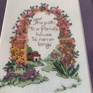 Floral Cottage Framed Cross Stich